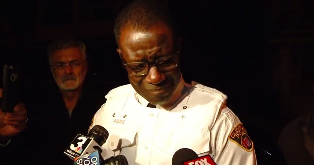 WATCH: Police chief breaks down in tears after a baby is shot dead