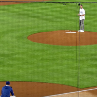 Robbie Keane threw out the first pitch at the LA Dodgers last night and he didn't embarrass us
