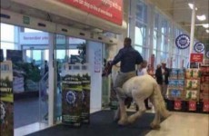 Man goes shopping in Galway Tesco - on horseback