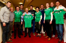 The Irish rugby squad had some serious dinner guests at their hotel last night