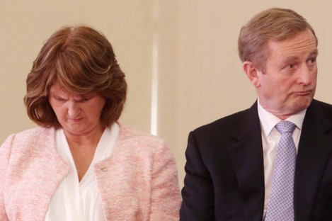 Joan Burton and Enda Kenny at a 1916 event in Dublin today