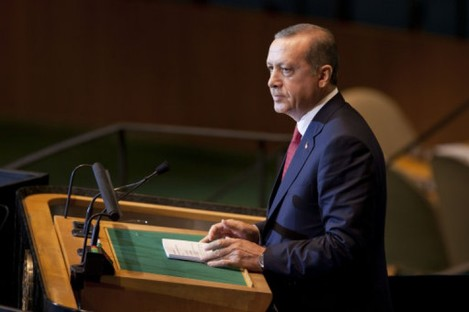 Turkish Prime Minister Recep Tayyip Erdogan speaks at the UN General Assembly last week.