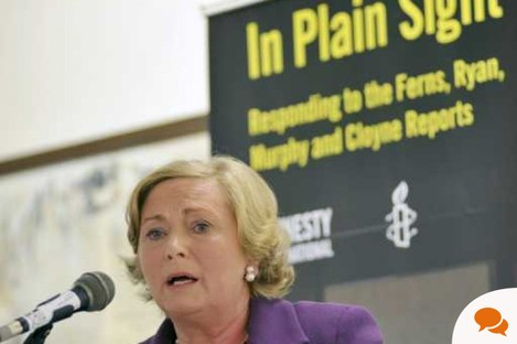 Minister for Children, Frances Fitzgerald, speaking at the launch of 'In Plain Sight' report yesterday