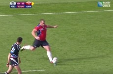 Namibia let their retiring prop take a conversion with the last play of their World Cup