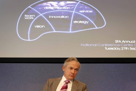 Minister for Enterprise Richard Bruton at the Small Firms Association annual conference today.