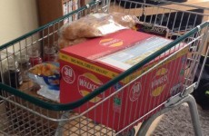 English people are taking their shopping home in trollies to avoid the new 5p bag charge