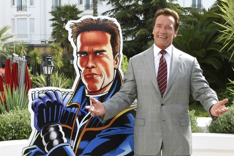 Schwarzenegger unveiling a new international television series, The Governator, at Cannes in April.