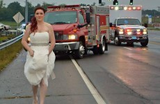 This bride has been labelled a hero for helping out a car crash in her wedding dress