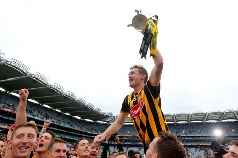 Kilkenny captain Joey Holden celebrates with the Liam MacCarthy Cup after Kilkenny's 2015 All-Ireland final win.