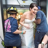 A couple got stuck in a lift on their wedding day... and kept the party going