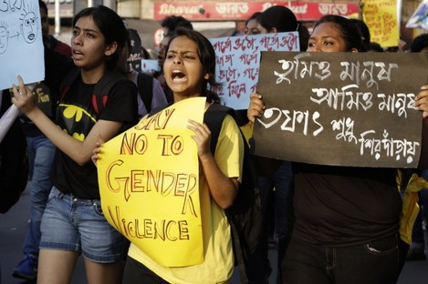 A protest against violence against women in Kolkata, India earlier this year