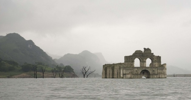 This sunken 400-year-old church has emerged from a reservoir