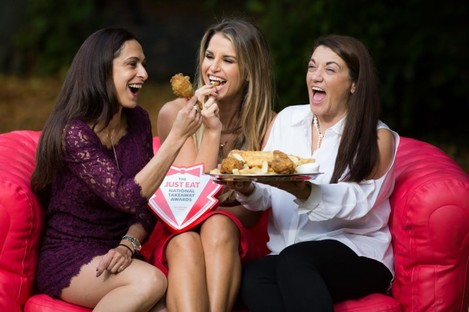 Vogue Williams joins Maria Borza and Danielle Macari at the launch of the Just Eat National Takeaway Awards.