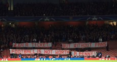 Bayern fans produce a fantastic banner in response to Arsenal's excessive ticket prices