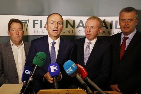 Fianna Fáil leader Micheál Martin with members of his parliamentary party