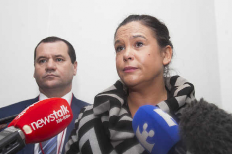 Sinn Fein Deputy Leader Mary Lou McDonald TD pictured outside Leinster House as she discussed Sinn Fein's position in relation to Right2Change. She is joined by Councillor Paul Donnelly