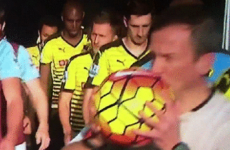 The ref was so pumped up for Watford v West Ham, he kissed the match ball