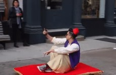 Some lad dressed as Aladdin rode through the streets of New York