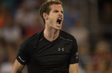 Andy Murray was none too pleased after he was smacked by a flying tennis ball this morning