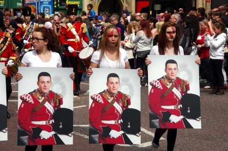 Tribute to Lee Rigby in Manchester.