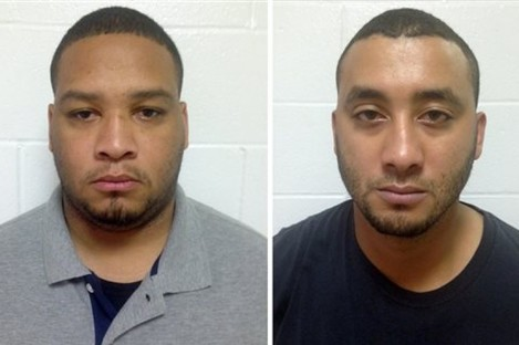 In this photo combination shows booking photos provided by the Louisiana State Police, Marksville City Marshal Derrick Stafford, left, and Marksville City Marshal Norris Greenhouse Jr.