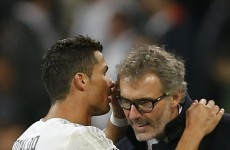 Sweet nothings: CR7's embrace with Blanc has PSG getting very, very excited
