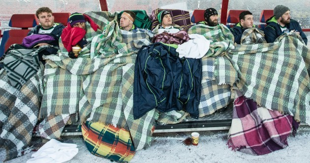 Hot water bottles and blankets aplenty on the Connacht bench in Siberia this morning
