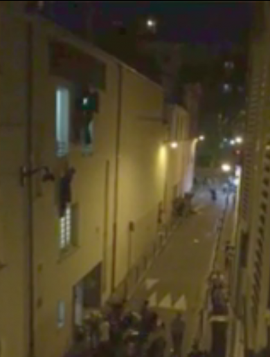 Chilling video shows people clinging to windows as Bataclan gunmen open fire