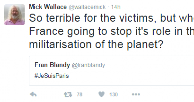 'Under no circumstances do I condone the likes of Isis' - Mick Wallace defends Paris attack tweet