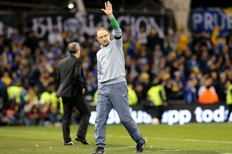 O'Neill salutes the fans.