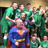 'Superman' joined the Ireland dressing room's post-match celebrations