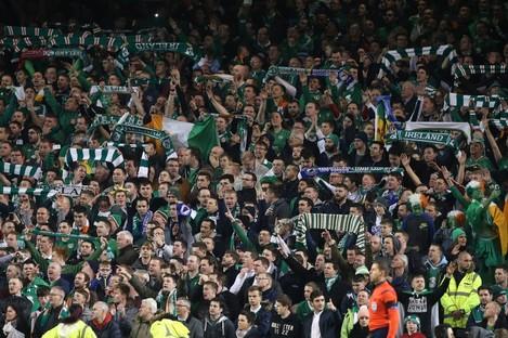 Ireland fans celebrate after the UEFA Euro 2016 Qualifying Playoff second leg at the Aviva Stadium.