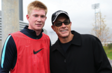 One of Hollywood's best-known action heroes was hanging out with Man City today