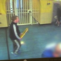 Footage shows prisoners attacking prison officer with brush handle