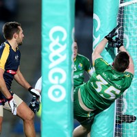Paddy McBrearty ended up in hospital after this hefty collision with a Croke Park goalpost