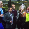 A Lotto winner blitzed herself in the face with champagne on the Six One News