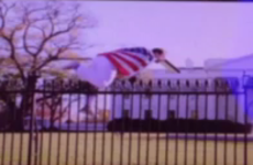 White House goes into lockdown after a man wearing a USA flag hops the fence