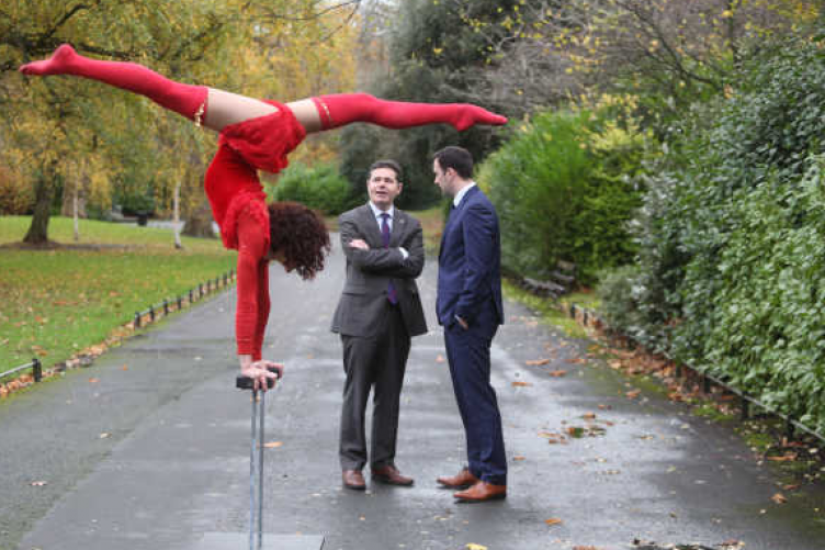 Contortion and aerialist Maria Combarros, Minister for Transport, Tourism and Sport Paschal Donohoe and Failte Ireland marketing director Noel John Mcloughlin at the launch programme of events for NYF Dublin.