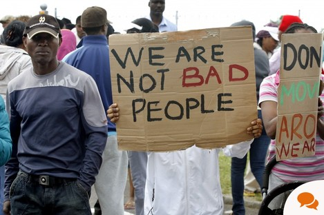 Asylum-seekers protest over conditions at a refugee centre in Ireland last year