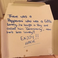 Apache Pizza delivered the cutest poem on a pizza box at the weekend