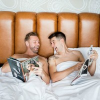 A groom and his best man celebrated the wedding with a brilliant photo shoot