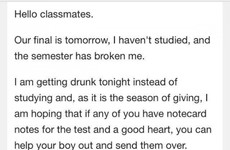 This absolute chancer of a student sent this email the night before his exam