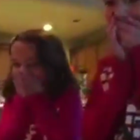 Little girls find new baby brother under the Christmas tree, totally lose it