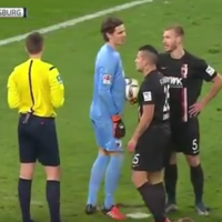 Bundesliga goalkeeper successfully sabotages penalty kick with sneaky antics