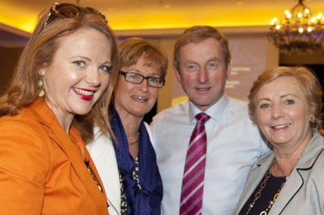 Enda Kenny with Fine Gael's Catherine Noone, Mairead McGuinness and Frances Fitzgerald