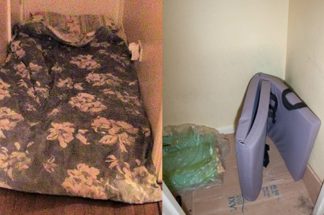 A hallway mattress, where the victim slept, along with some bare bedding and a piece of foam.