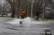 This Irish wakeboarder made the most of the floods caused by Storm Desmond