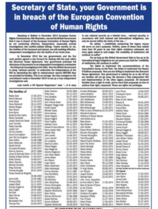 Troubles victims have strong words for the British government in this full-page ad