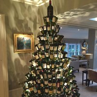 Pubs have started putting up their own Christmas trees made out of wine bottles
