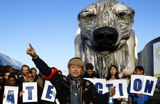 Giant polar bear among protesters at Paris climate talks